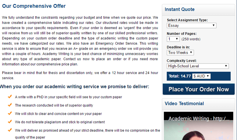 AcademicWriting.com.au prices