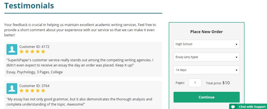 SuperbPaper.com testimonials