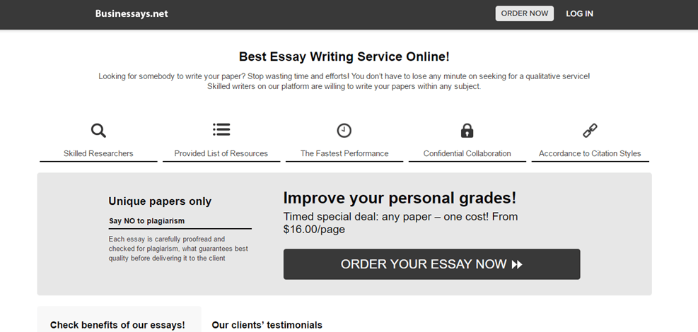 Essays.Businessays.net services