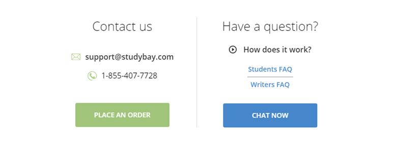 StudyBay.com customer service