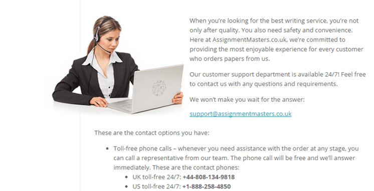 AssignmentMasters.co.uk customer service