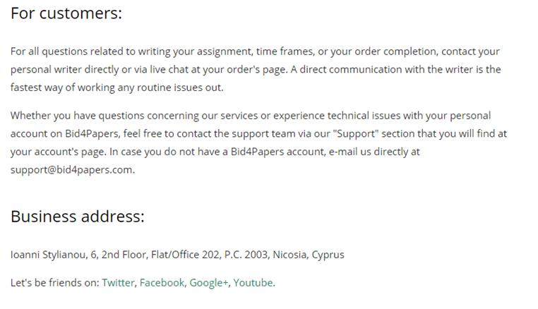 Bid4Papers.com customer service