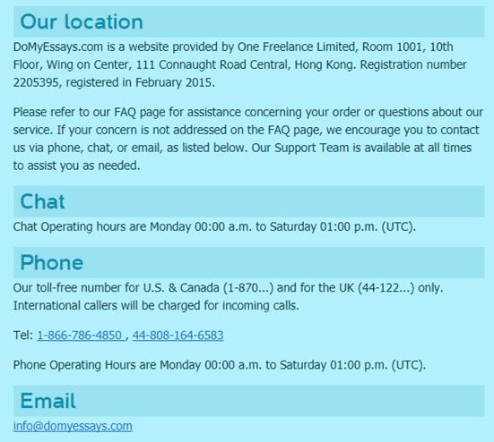 domyessays.com customer service