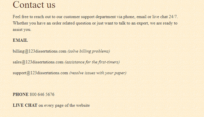 123dissertations.com customer service
