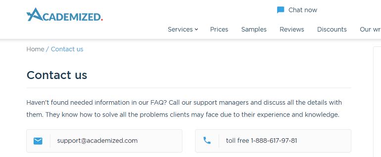 academized.com customer service