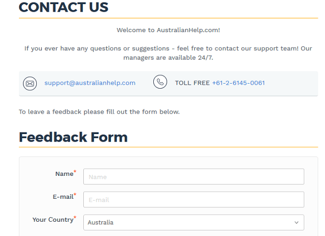 australianhelp.com customer service