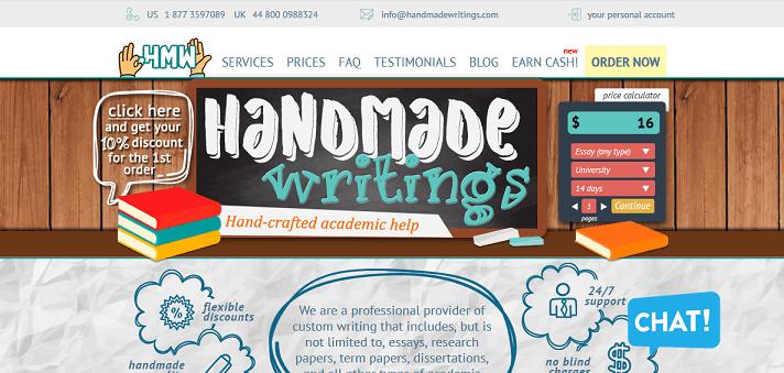 handmadewritings.com website
