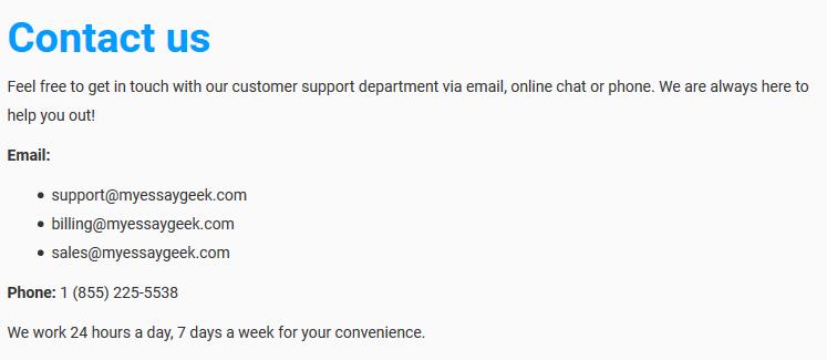 myessaygeek.com customer service