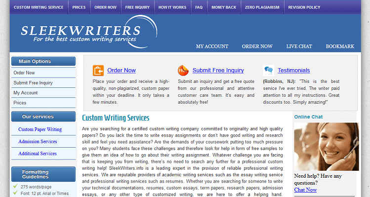 sleekwriters.info website