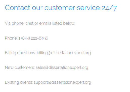 dissertationexpert.org customer service
