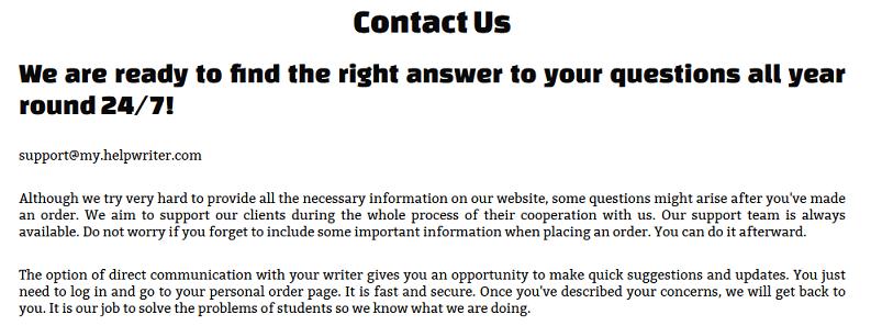 helpwriter.com customer service